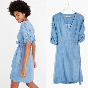 Madewell Denim Shirred-Sleeve Wrap Dress Chambray